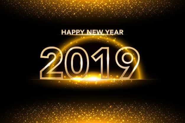 golden background of new year 2019 premium vector