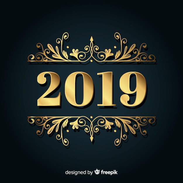golden background of new year 2019 free vector