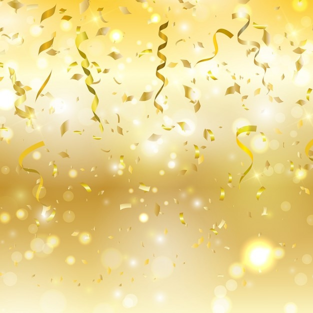 Golden background with confetti and streamers Free Vector