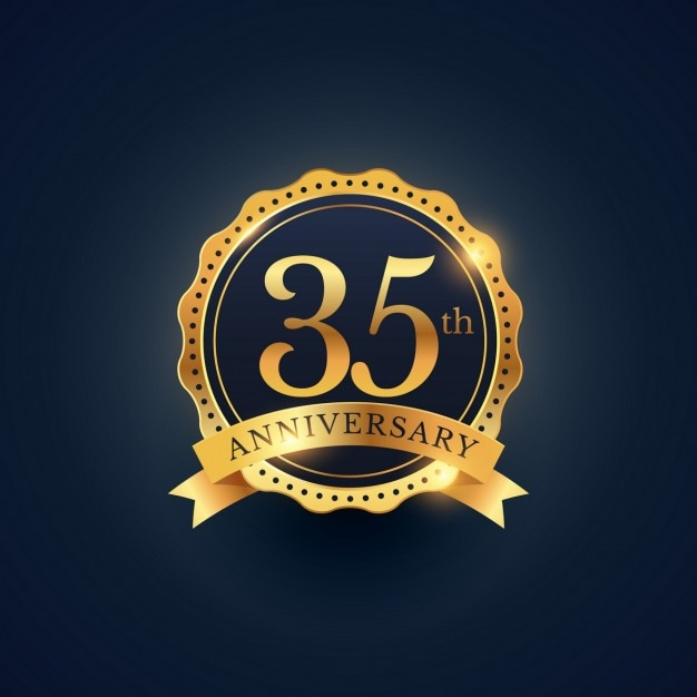 Golden badge for the 35th anniversary Free Vector
