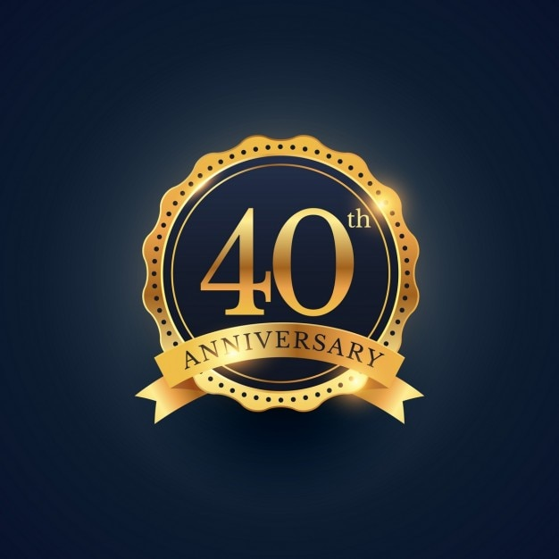 Golden badge for the 40th anniversary Free Vector