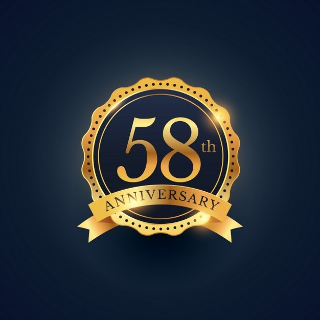 Golden badge for the 58th anniversary Free Vector