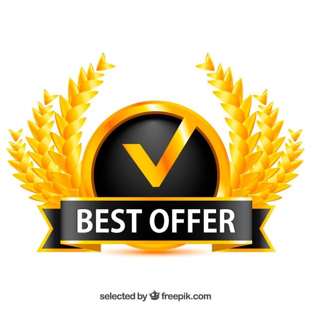 Golden Badge For Best Offer Vector Free Download