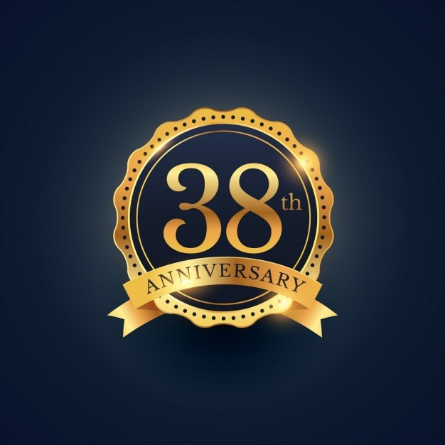 Golden Badge For The 38th Anniversary Vector Free Download