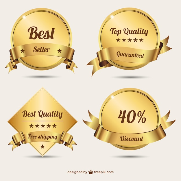 Golden badges with ribbons Free Vector