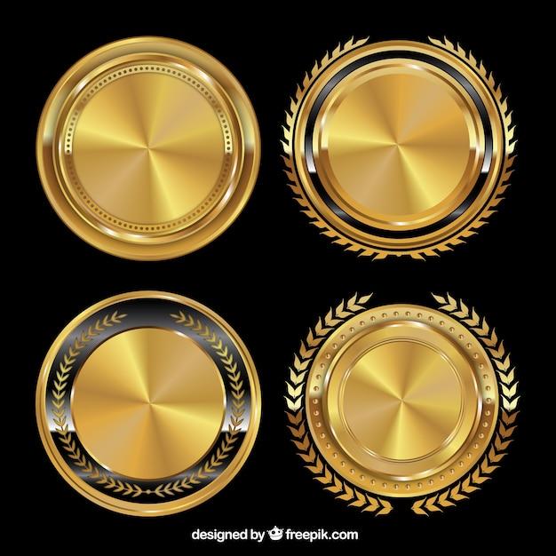 golden badges vector free download