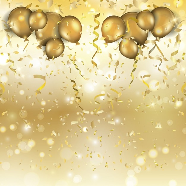 Golden Balloons And Confetti For A Party Vector Free