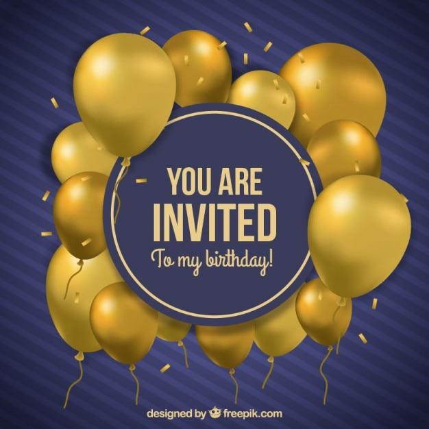 Golden balloons birthday invitation