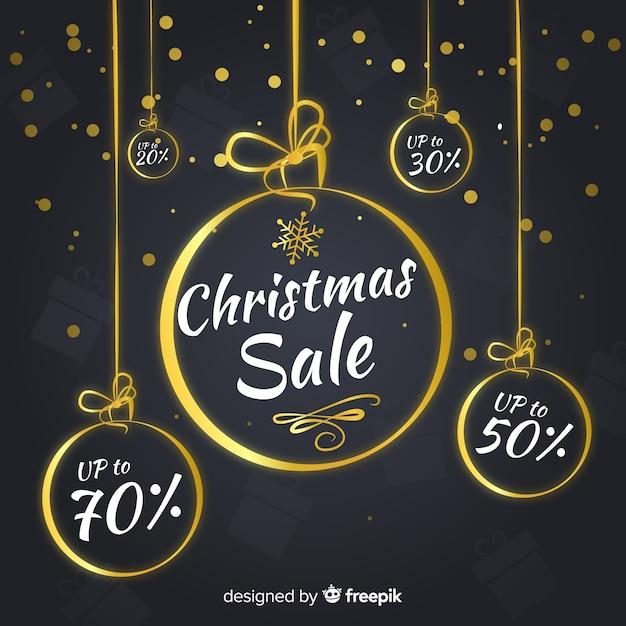 Golden balls christmas sale background Free Vector
