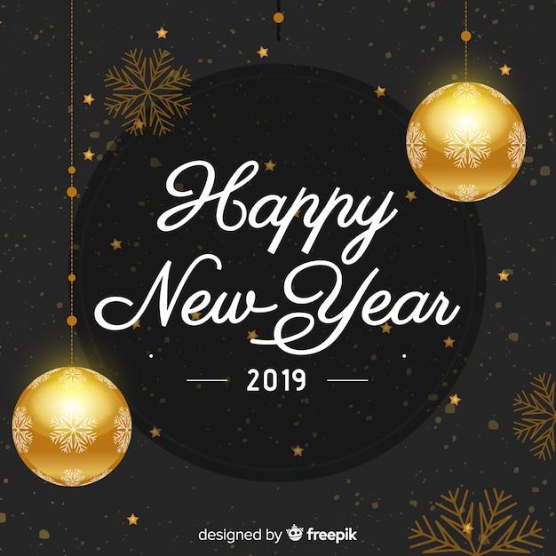 golden balls new year background free vector