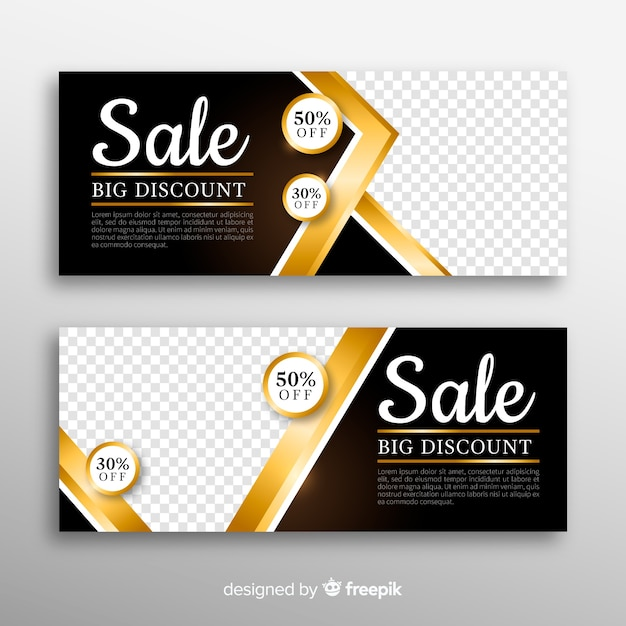 Golden banner for shopping sales Free Vector