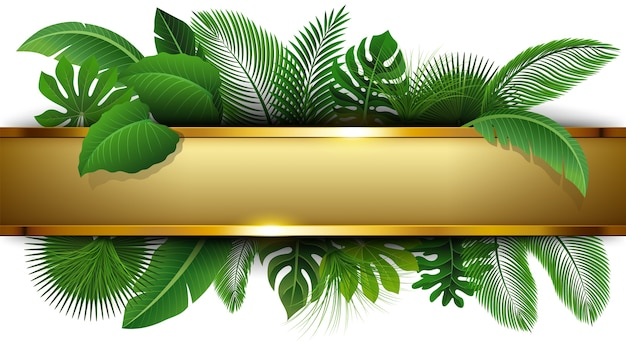 Golden banner with text space of tropical leave Premium Vector