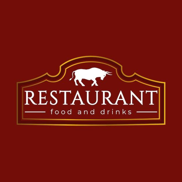 Golden barbecue restaurant logo design Premium Vector