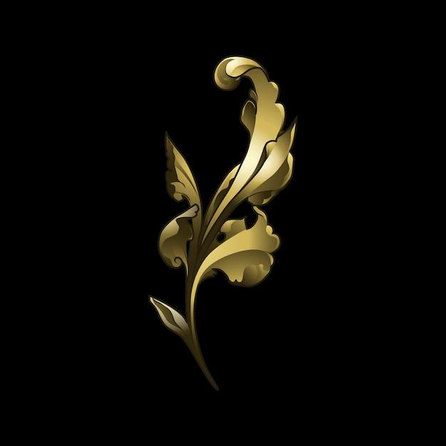 Golden baroque floral elements vector Free Vector