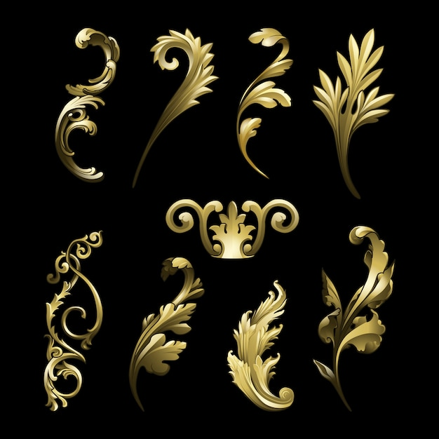 Golden baroque flourish elements vector set Free Vector