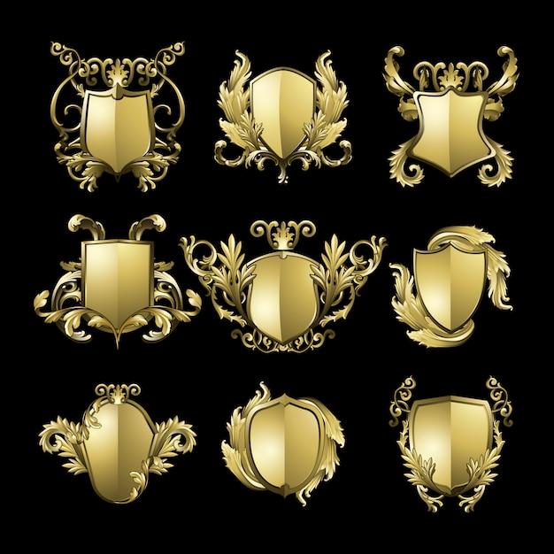 Golden baroque shield elements set Free Vector