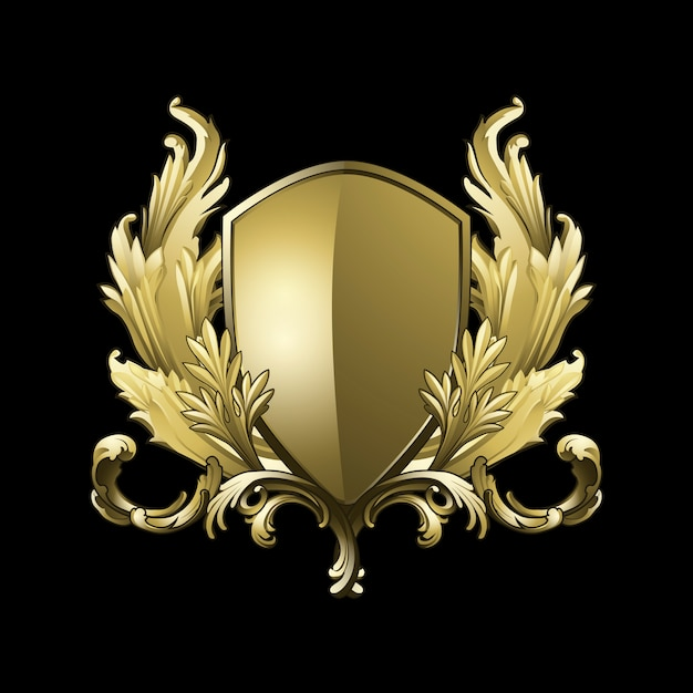 Golden baroque shield elements vector Free Vector