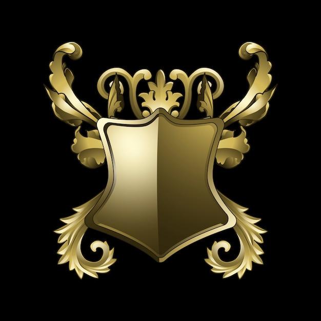 Golden baroque shield elements vector Free Vector