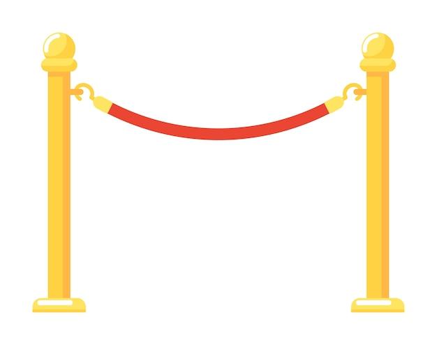 白い背景で隔離の赤いロープのイラストと金色のバリアイベント入口ゲート Premiumベクター