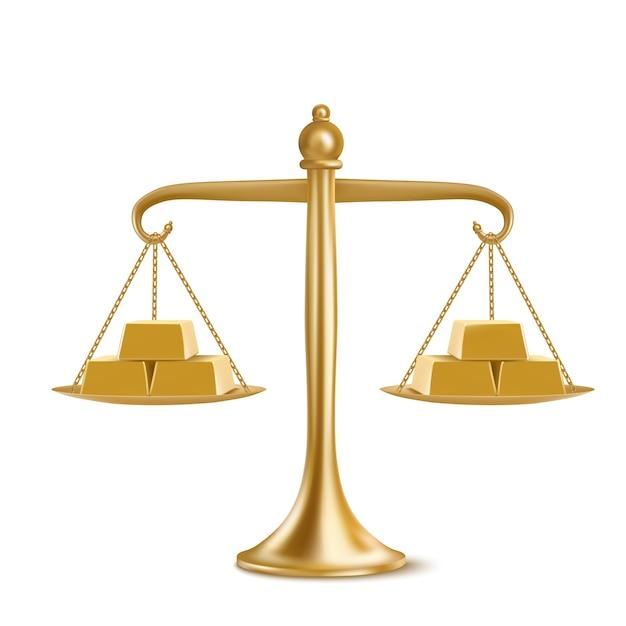 흰색 배경에 고립 된 무게 저울에 황금 막대. 노란색 금속 덩어리와 금 천칭 자리의 현실적인 그림. 재정 평등, 균형 및 통화 비교의 개념 무료 벡터