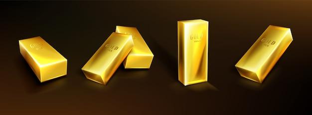 Золотые слитки, желтые металлические слитки. концепция денежных вложений, твердой валюты, финансового резерва. реалистичный набор слитков чистого золота на темном фоне. символ сокровища, богатых сбережений Бесплатные векторы