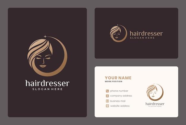 Golden beauty hair logo design with business card template. Premium Vector