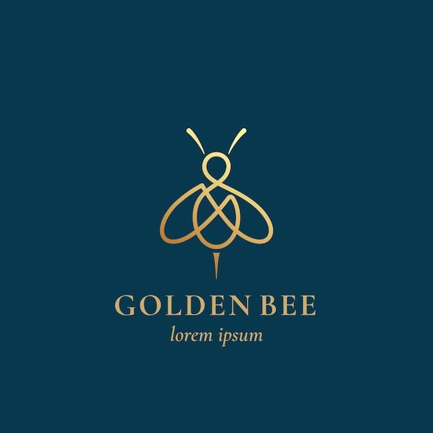 Золотая пчела абстрактный знак, символ или шаблон логотипа. Premium векторы