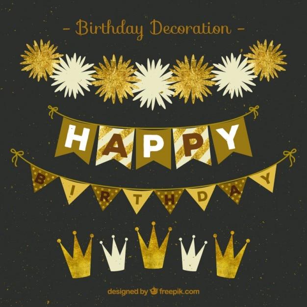 Golden Birthday Garlands Vector Free Download