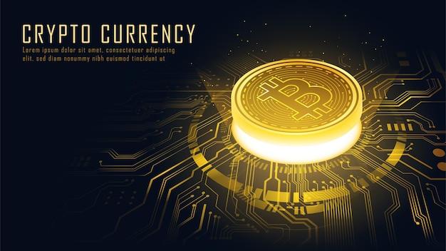 Изометрическая концепция технологии блокчейн golden bitcoin, подходящая для технологий будущего Premium векторы