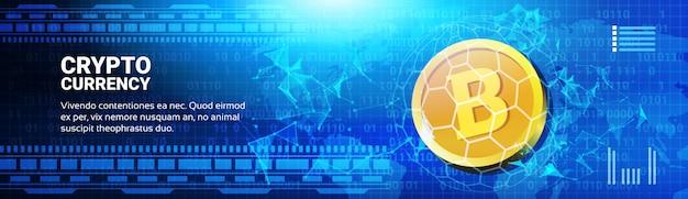 Golden bitcoin on world map horizontal banner Premium Vector