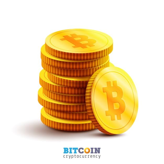 Золотые биткойны и новая концепция виртуальных денег. стек золотой монеты с пиктограммой b. технология майнинга или блокчейна для криптовалюты Premium векторы