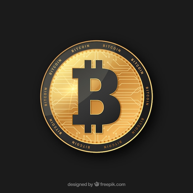 Golden and black bitcoin design Free Vector