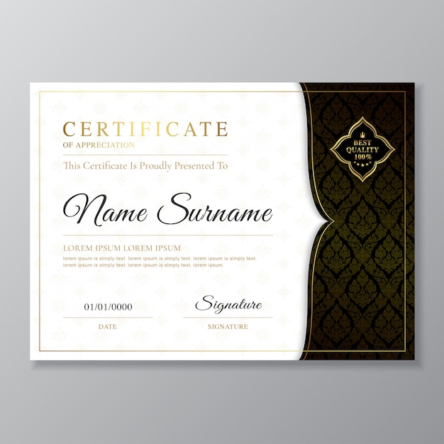 Golden and black certificate and diploma design template Premium Vector
