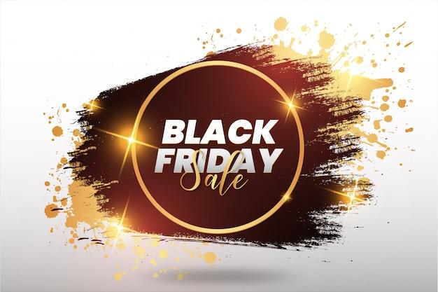 Golden black friday splash banner Free Vector