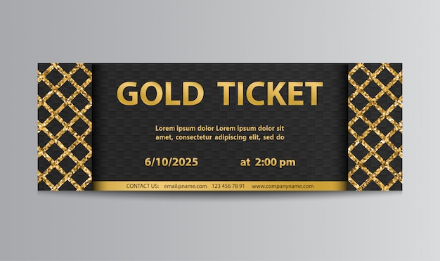 Golden black ticket with lattice Premium Vector