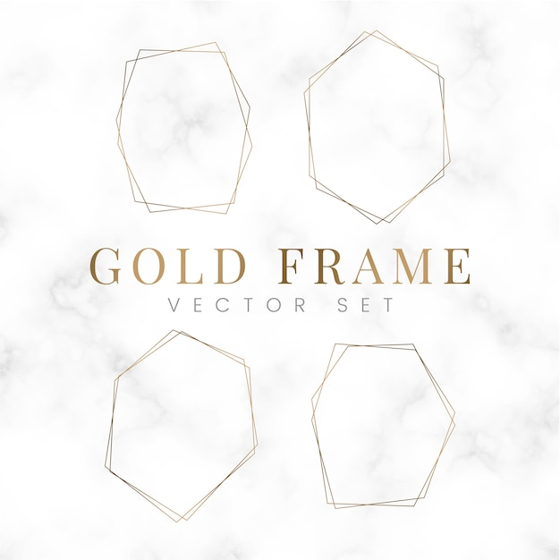 Golden blank hexagon frame vector set Free Vector