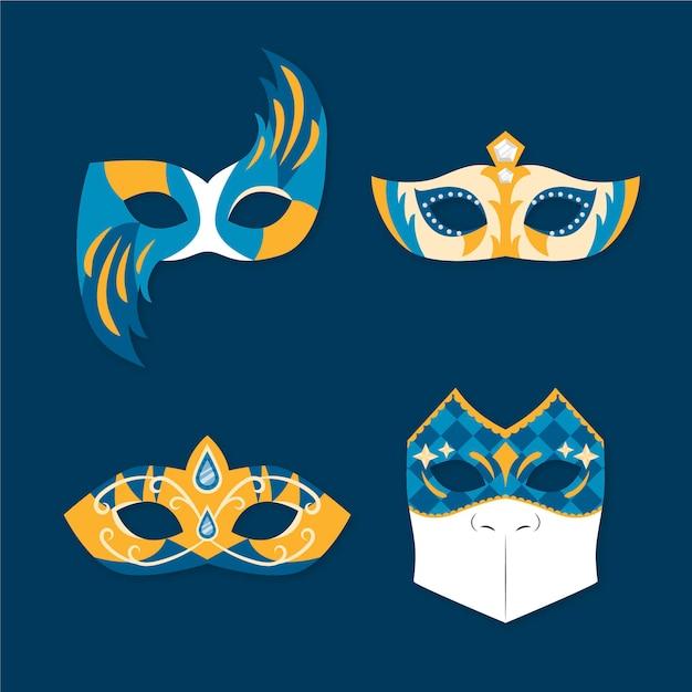 Maschere di carnevale veneziane 2d dorate e blu Vettore gratuito