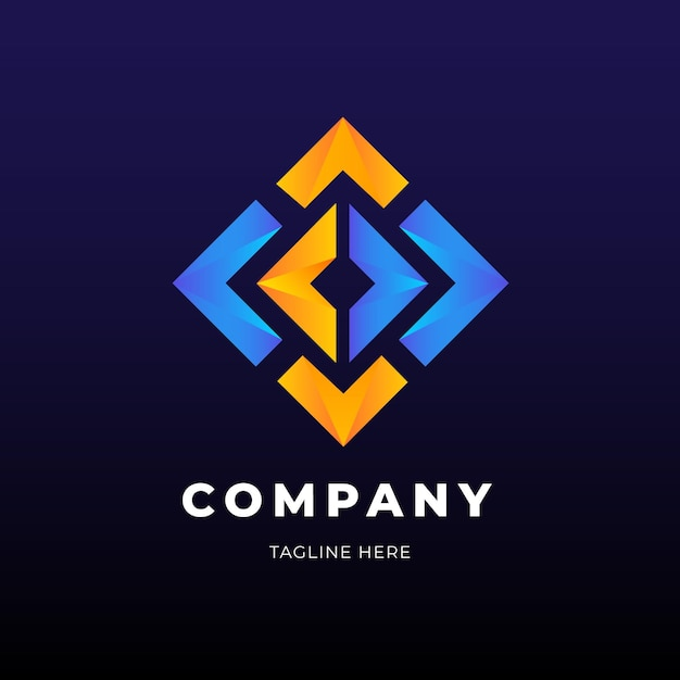 Golden And Blue Diamond Shape Logo Business
