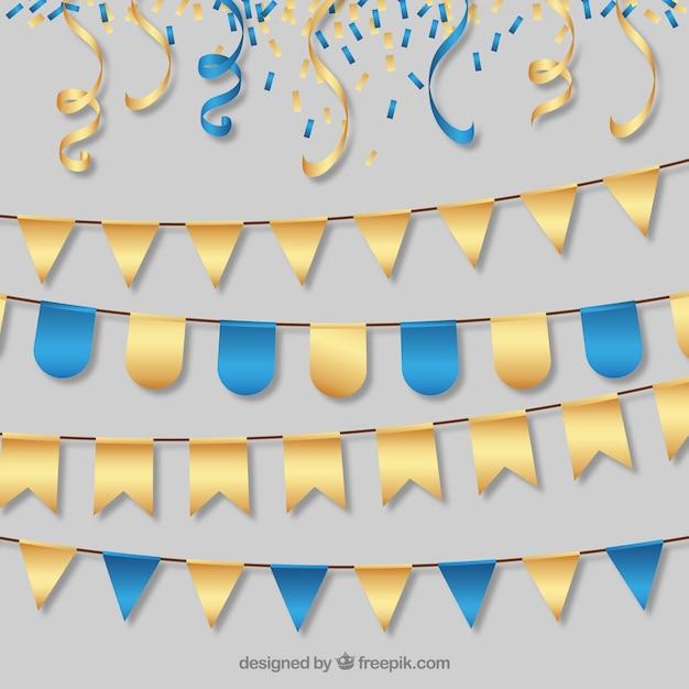 Ghirlande partito eleganti d'oro e blu Vettore gratuito