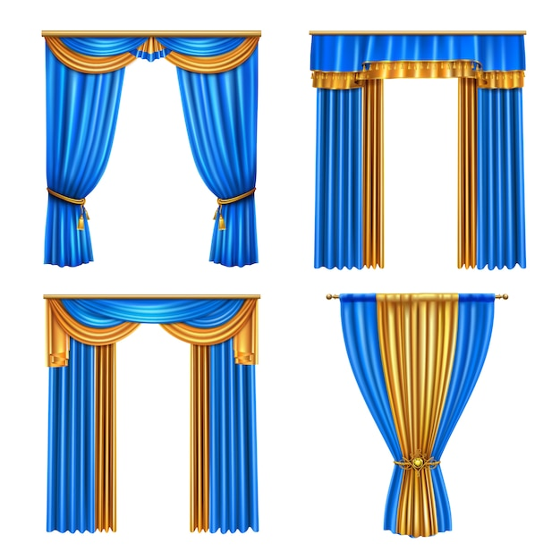 Golden blue long luxury drapes curtains set 4 realistic living room window decorations ideas isolated  illustration Free Vector