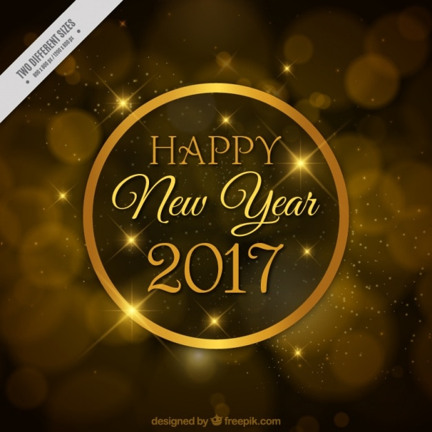 Golden bokeh background of happy new year\ 2017