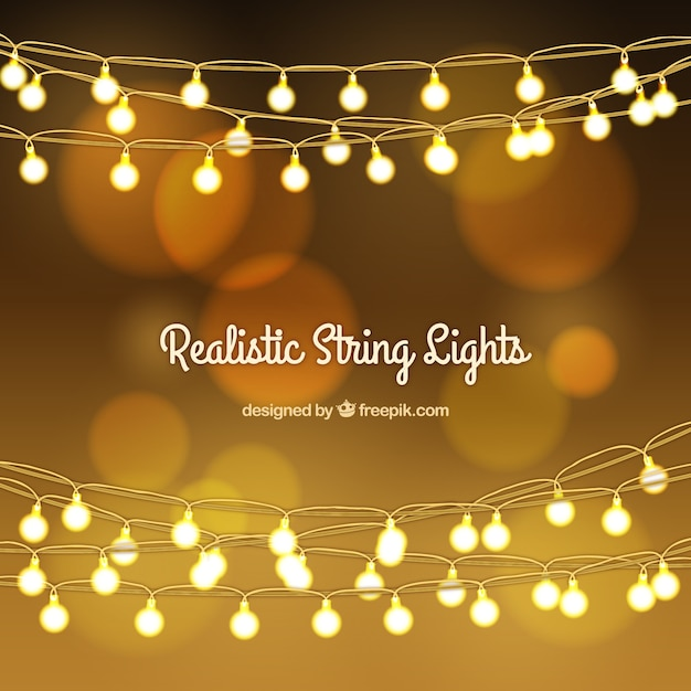 Golden bokeh background with string lights Vector Free Download