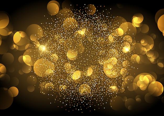 Golden bokeh lights background Free Vector
