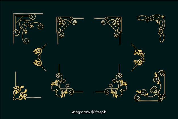 Golden border ornament collection on dark green background Free Vector