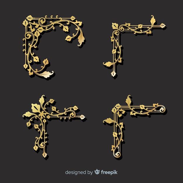 Golden border ornament set Free Vector