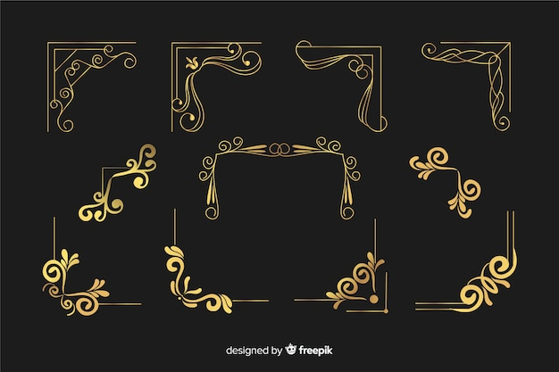 Golden border ornament with different shapes collection Free Vector