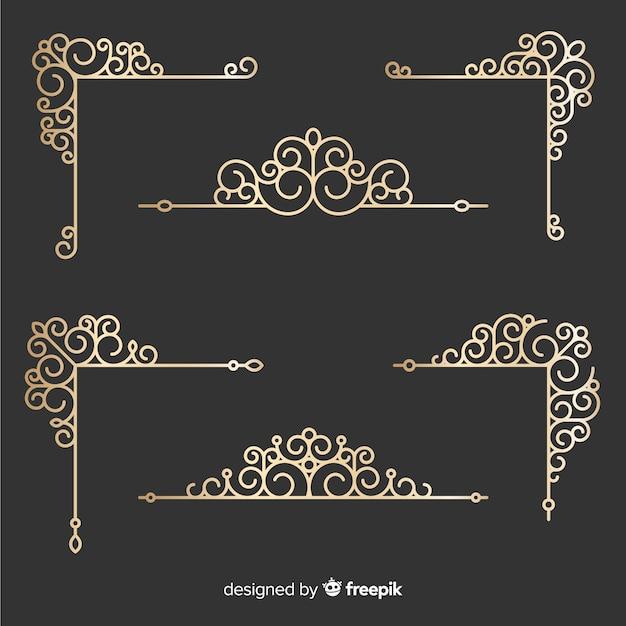 Golden border ornaments set Free Vector