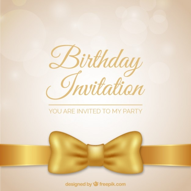 Golden bow birthday invitation vector free download golden bow birthday invitation free vector stopboris Image collections