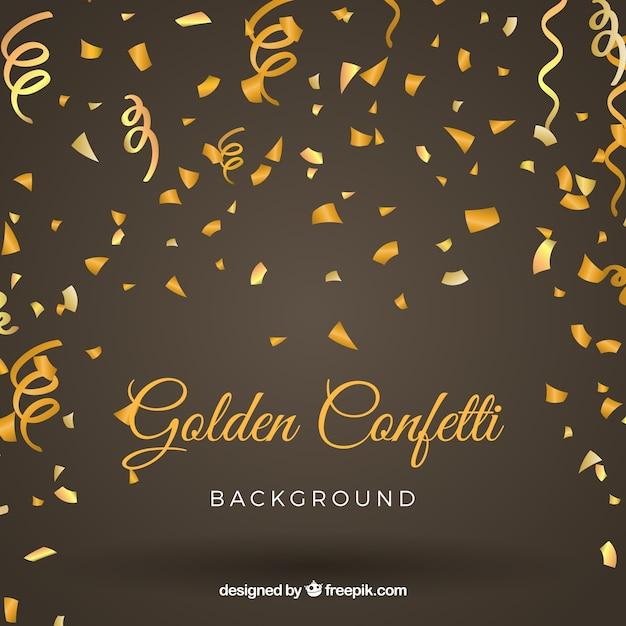 Sfondo dorato e luminoso coriandoli Vettore gratuito