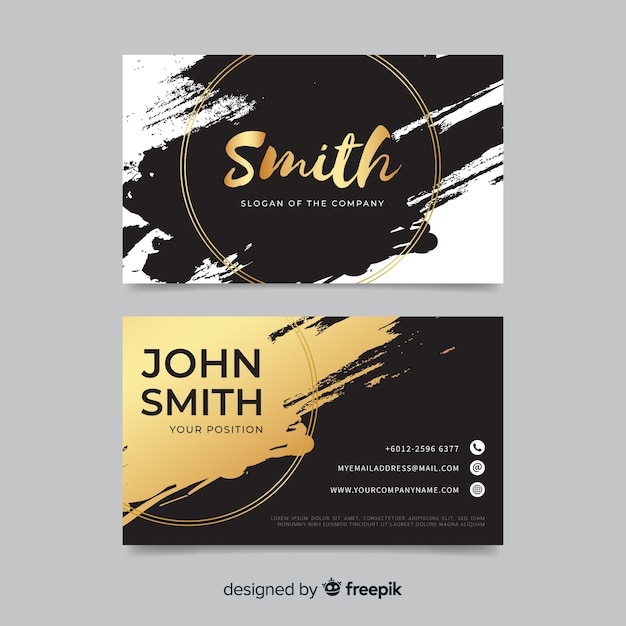 Golden brush stroke business card Free Vector